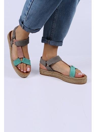 Female Project Su Yeşili-Pudra-Gri Hakiki Deri Cırtlı Sandalet Yeşil